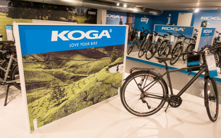 An in-store display photo for Koga bicycles