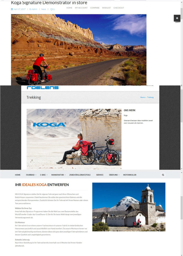 Photos used as headers for Koga bike shop dealers