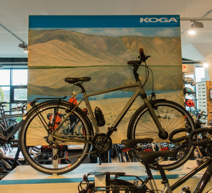 A canvas in store display for Koga bikes